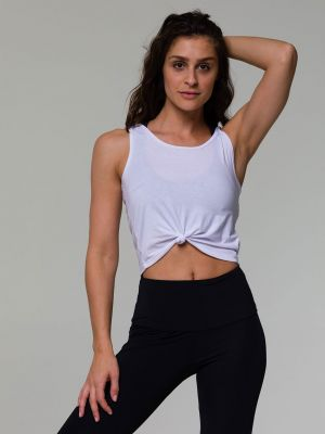 Onzie Knot Crop Top - White - 1